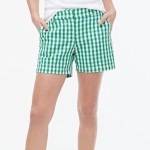 """J crew 5"""" classic chino gingham shorts"""
